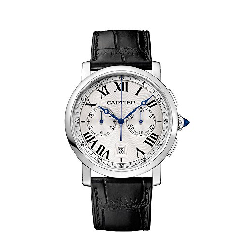 Cartier Men's 40mm Black Leather Band Steel Case S. Sapphire Automatic Silver-Tone Dial Watch WSRO0002