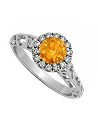 Citrine And Cubic Zirconia Halo Filigree Engagement Ring In 925 Sterling Silver