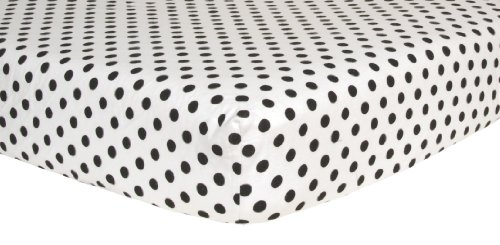 Trend Lab Print Flannel Crib Sheet, Black and White Dot