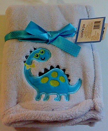 Cutie Pie Pale Blue Baby Blanket Embroidered & Appliqued Aqua Dino Mite Dinosaur