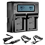 Neewer® LCD Battery Charger for Sony NP-FW50 Batteries Compatible With Sony NEX-3 NEX-5 NEX-6 NEX-7 NEX-C3 NEX-F3 SLT-A33 SLT-A37 SLT-A55(US Plug + EU Plug + Car Charger Adapter)