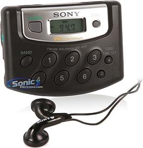 Sony SRF-M37 Walkman Portable AM/FM Radio Digital Tuner with In-Ear Headphones Stereo Earbuds, Black (SRFM37/B)
