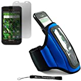 Blue Neoprene Adjustable Velcro Sportband / Workout Armband for Samsung Galaxy S Fascinate + Includes an Anti Glare Screen Protector.
