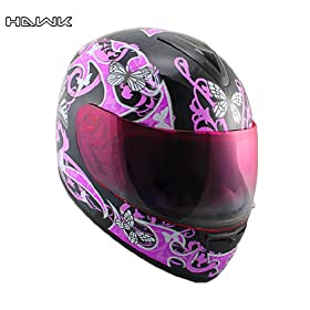 Advanced Hawk White Butterflies Glossy Full Face Motorcycle Helmet - Size : Small