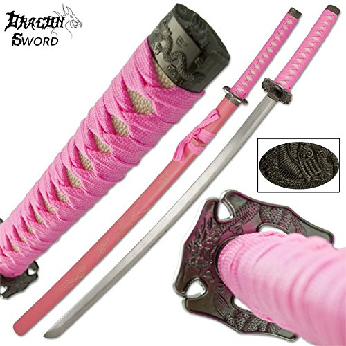 Samurai Katana Dragon Sword with Engraved Wooden Scabbard and Pommel (Pink)