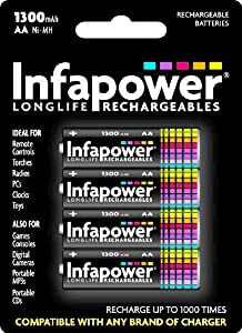 Infapower AA 1300mAh with 4 Rechargeable Batteries