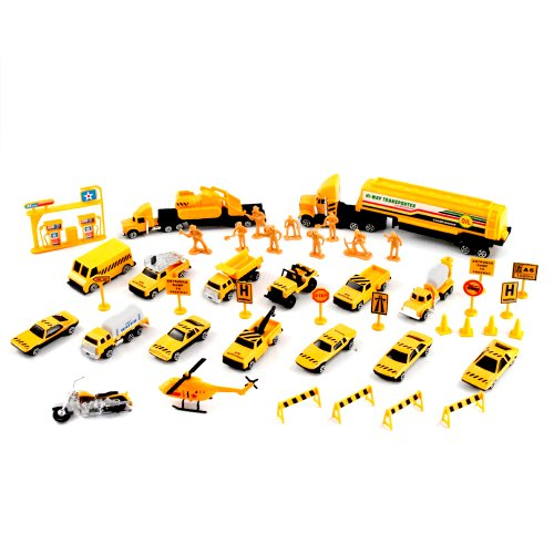44Pc 1:64 Scale Road Construction Building Team Diecast Toy Set Pretend Play front-112832