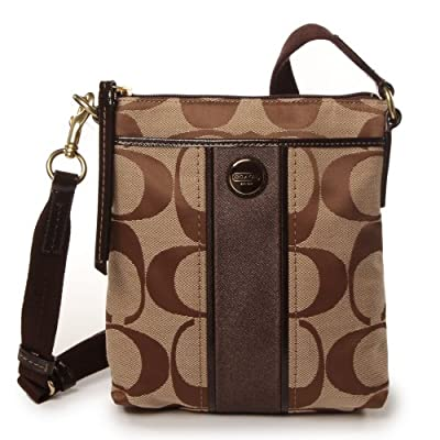 COACH Signature Stripe Swingpack - Brass/Khaki/Mahogany