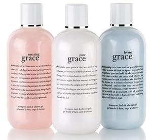 NEW! Philosophy 3-piece Grace Gift Set: amazing grace perfumed shampoo, bath & shower gel (8 oz) + pure grace perfumed shampoo, bath & shower gel (8 oz) + living grace perfumed shampoo, bath & shower gel (8 oz)