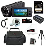 Sony HDR-CX230 8GB Embedded Memory HD Handycam Camcorder with 27x Optical/ 32x Extended Zoom and 2.7-inch LCD Screen in Black + Sony 16GB SDHC + Replacement NP-FV50 Battery + Micro HDMI Cable + Carrying Case + Accessory Kit