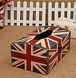 Amateras 木製 ティッシュケース ボックス 国旗 レトロ アンティーク 雑貨 米国 英国 USA UK アメリカ イギリス ティッシュ ケース オリジナル LOGO ボールペン 付き (イギリス国旗風)