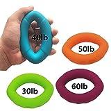 ORON ハンドエクササイズ リンググリップ, 握力トレーニング リハビリ用具, ハンドグリップリング Silicone Ring Hand Grippers 30lb 40lb 50lb 60lb - 4個1組 oronring3
