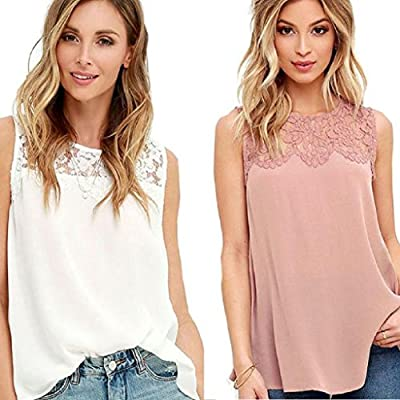 Changshopping Women Fashion Chiffon Lace Sleeveless Shirt Blouse Casual Tank Tops