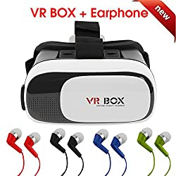 2nd Generation Hot Selling VR Headset Virtual Reality 3D Glasses Google Cardboard VR Box Adjustable 4.7~6 Inch Screen Phones iphone 4S, iphone 5s, IPhone 6 / 6 S , Samsung LG, Nokia Sony HTC, Nexus Oneplus Moto etc - Inspired by Google Cardboard, Oculus Rift and Samsung Gear 2016 ( With 1 Earphone )