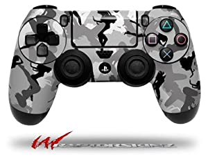 Sexy Girl Silhouette Camo Gray - Decal Style Wrap Skin fits Sony PS4 Dualshock Controller