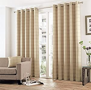 Woven Check Plaid Beige Grey 66x90 168x229cm Lined Ring Top Curtains Drapes by Curtains