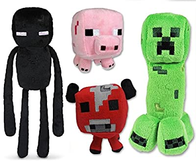 Unknown Minecraft Plush Set of 4 with Creeper Enderman Pig & Mooshroom Free, 4Pcs Set from Unknown