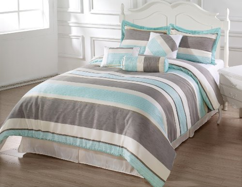 Bachelor 7Pc Comforter Set Light Blue, Gray, Beige Striped Bed-In-A-Bag Cal-King Size Bedding front-216869