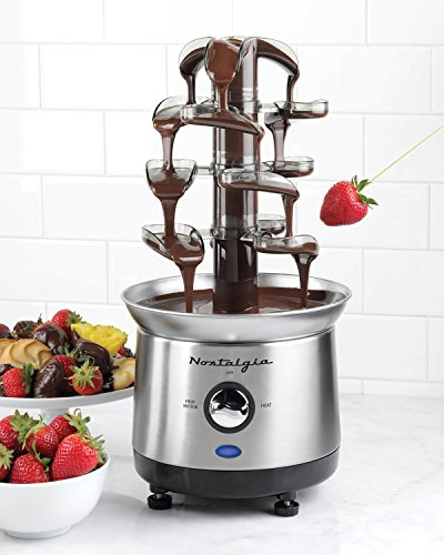Best Stainless Steel Fondue Maker Chocolate Fountain Set Pot- Home Entertainment-Family Gatherings- Perfect For Chocolate Cheese BBQ Sauces- Get Creative- Four Waterfall Tiers Creative Minds Wanted