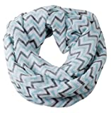 niceeshop(TM) Soft Warp Knitting Voile Chevron Sheer Infinity Scarf (Blue&Grey)