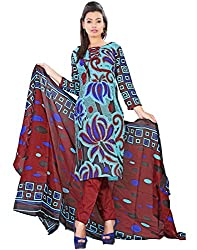 Yehii Women's Cotton Light Blue Paisley dress material Unstitched Salwar Kameez Dupatta for women party wear low price Below Sale Offer