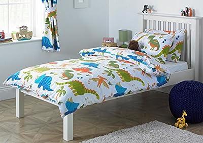 Children's Dinosaur Single Duvet Cover Bed Set Inc. Pillowcase (White, Orange, Green, Blue)