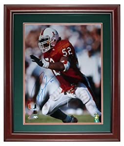 Ray Lewis Autographed Miami Hurricanes (Orange Jersey) Deluxe Framed 16x20 Photo by PalmBeachAutographs.com