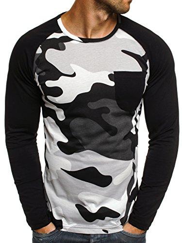 ozonee-herren-longsleeve-sweatshirt-langarmshirt-camouflage-armee-militarstil-athletic-1089-schwarz-