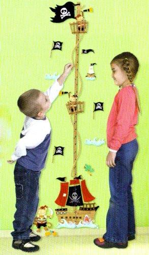 Adesivi PIRATI METRO CRESCITA DA PARETE cm 60x32 per cameretta bambini.