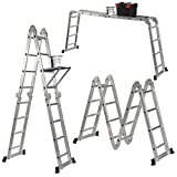 Stella 14-in-1 (15.5ft) 4.7m Folding Multi Ladder with 2 Scaffold Working Plates and 1 Tool Tray Manufactured to EN131 Part 1 and 2 Specifications