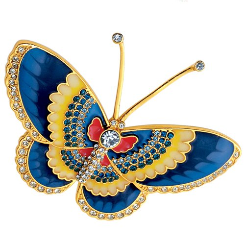 Butterfly Brooch or Pin Gold Jewelry Crystal