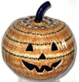 "9"" Polish Pottery Stoneware Pumpkin Halloween Jack-o'-lantern KLJ Unikat October Sunrise"