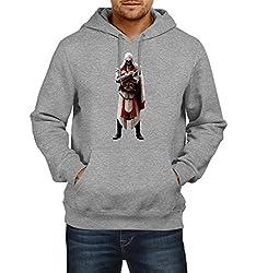 Fanideaz Men's Cotton Assassin's Creed Full Hoodies For Men (Premium Sweatshirt)_Grey Melange_XL