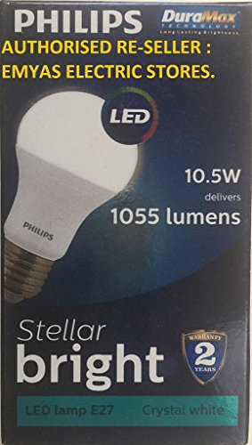 Philips Stellar Bright 10.5W 1055L E27 LED Bulb (Cool Day Light, Pack of 12)