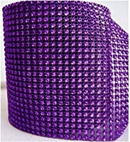 "Purple Diamond Rhinestone Mesh Ribbon, Wedding Ribbon, Diaper Cake Ribbon, 4.75"" x 10 Yards, 24 Row, 1 Roll from Freshly Picked Diamond Mesh"
