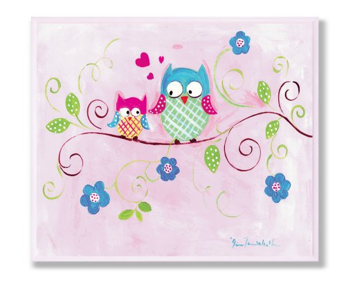 The Kids Room by Stupell Owls on Swirly Tree Branch with Flowers and Pink Background Rectangle Wall Plaque