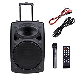AW 1500W Portable Active PA Speaker w/ Wireless Microphone Guitar AMP Bluetooth USB SD LCD FM Party Show