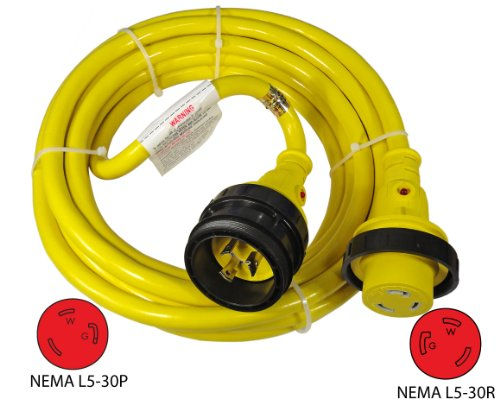 Conntek Marine Shore Power 10/3 30 Amp Cordset with Light Indicator (25-Feet)