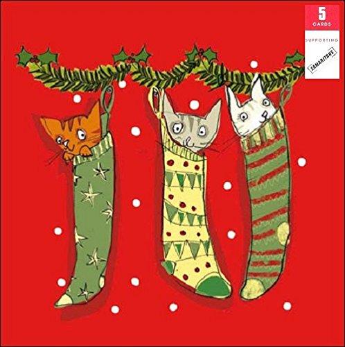 festive-productions-lot-de-5-chats-samaritains-de-cartes-de-noel-caritatives-lot-de-carte-de-noel