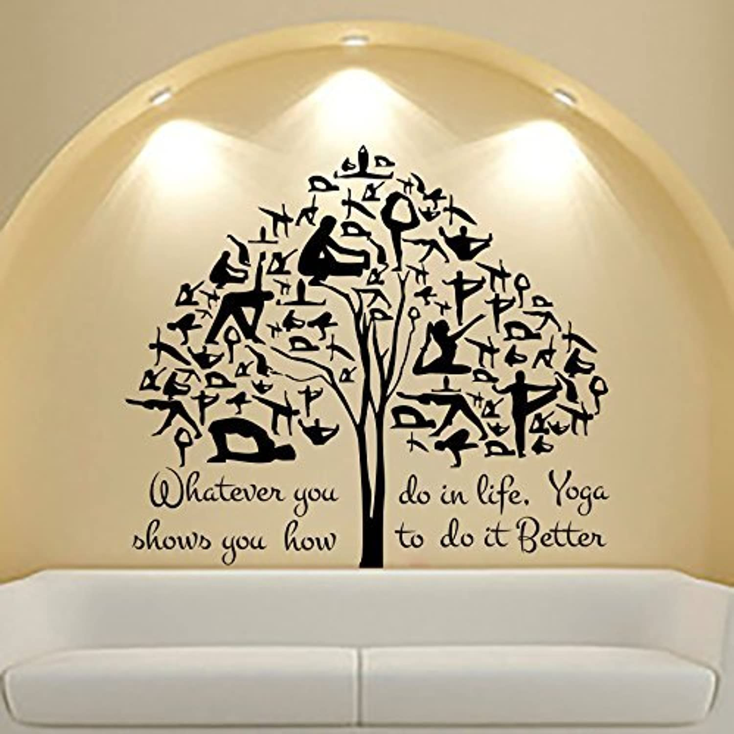 Yoga wall decal art quote gymnast tree sticker decals gym for Wall stickers for bedrooms interior design