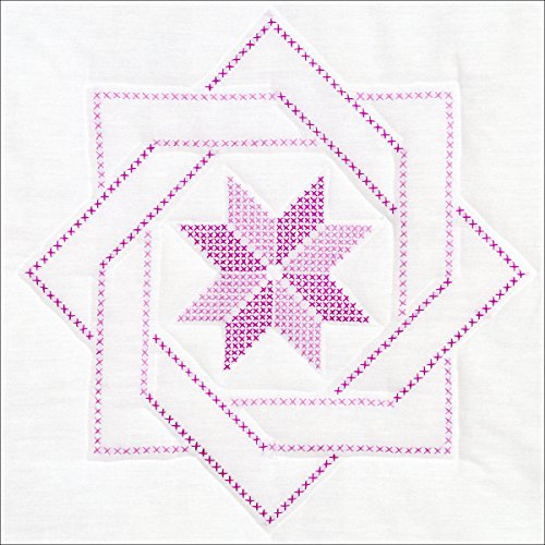 Jack Dempsey Stamped White Quilt Blocks, 18 by 18-Inch, Woven Star, 6-Pack