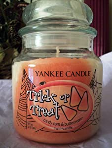 Yankee Candle Halloween TRICK OR TREAT Candy Corn Buttercream Swirl 12 oz Jar Candle