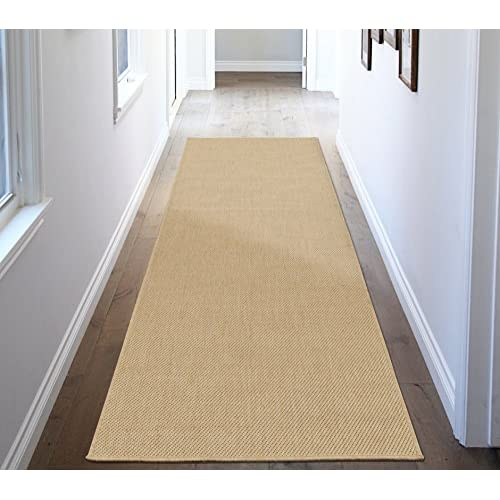 "Ottomanson Jardin Collection Natural Solid Design Indoor/Outdoor Jute Backing Synthetic Sisal Runner Rug, Cream, 27"" x 70"""