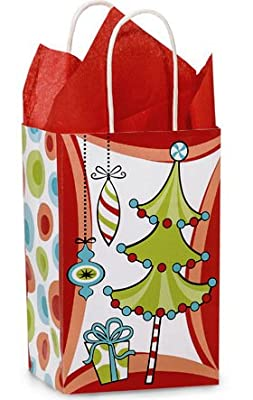 Christmas Whimsical WACKY TREES Paper Shopper Gift Bags - Set of 10