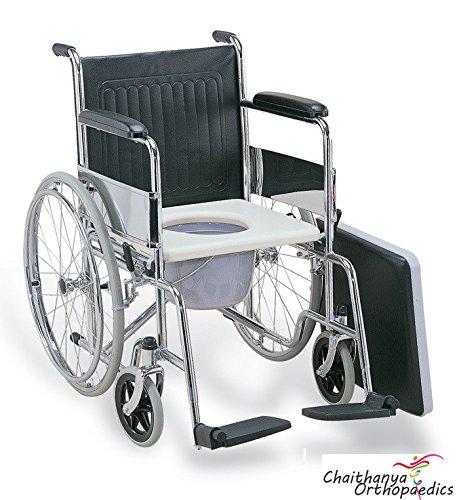 Chaithanya Orthopaedics FC Premium Imported Commode Wheel Chair Foldable + Walking Stick