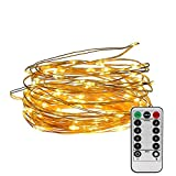 100 LED Copper Wire Starry String Lights with 8 Modes Remote Control 3AA Battery Operated, 33 Feet (Warm White)