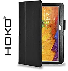 Galaxy Note 10.1 SM-P601 Case, HOKO Black Leather Flip Case Cover Stand with magnetic closure for Samsung Galaxy Note 10.1 SM-P601 (Auto wake and sleep)