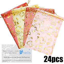 Shells 24 Pack Multi Color Organza Gift Bags Candy Bags Gift Bags Flat Style Bags 3.9 X 5.1 Inches For Wedding, Party And Home Decoration