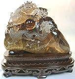タイチンルチルスモーキークォーツ彫刻「瑞龍抱珠」4000g