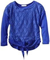 Pinc Premium Girls 7-16 Long Sleeve Lace Popover Top, Navy, Large